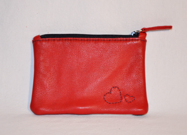 Heartcraft small upcycled leather pouch SP0003 back