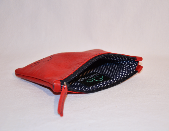 Heartcraft small upcycled leather pouch SP0004 in