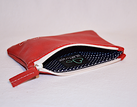Heartcraft small upcycled leather pouch SP0005 in