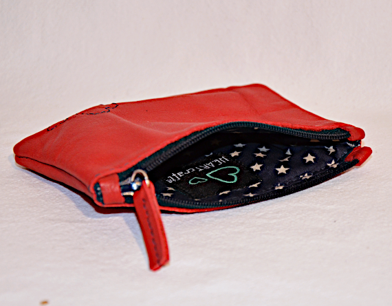 Heartcraft small upcycled leather pouch SP0006 in