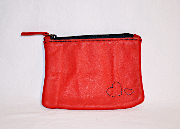 Heartcraft small upcycled leather pouch SP0006 out