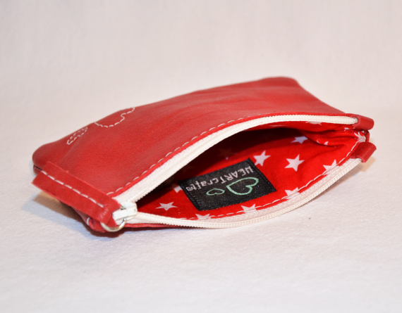 Heartcraft small upcycled eather pouch SP0007 in