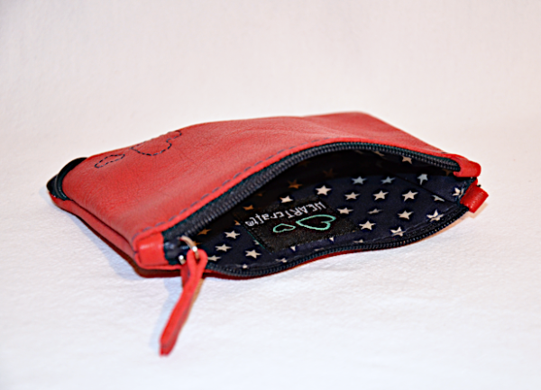 Heartcraft small upcycled leather pouch SP0008 in