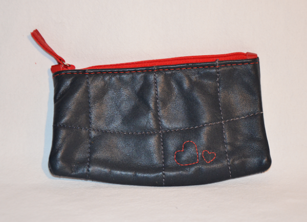 Heartcraft small upcycled leather pouch SP0011 front