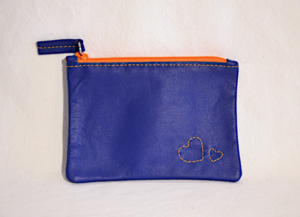 Heartcraft small upcycled leather pouch SP0013 front