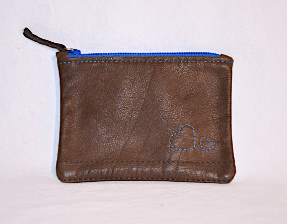 Heartcraft small upcycled leather pouch SP0015 front
