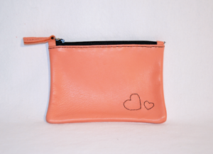 Heartcraft small upcycled leather pouch SP0016 front
