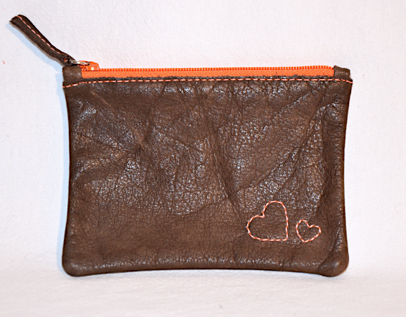 Heartcraft small upcycled leather pouch SP0017 front
