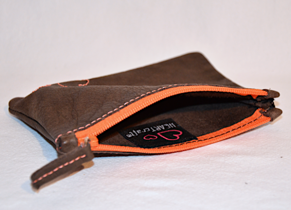Heartcraft small upcycled leather pouch SP0017 in