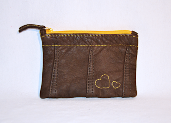 Heartcraft small upcycled leather pouch SP0018 front