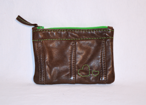 Heartcraft small upcycled leather pouch SP0019 front