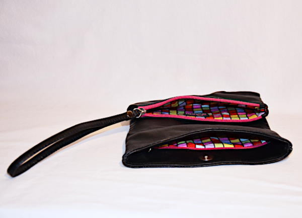 Heartcraft upcycled leather clutch C0001 in