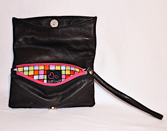 Heartcraft upcycled leather clutch C0001 in 1