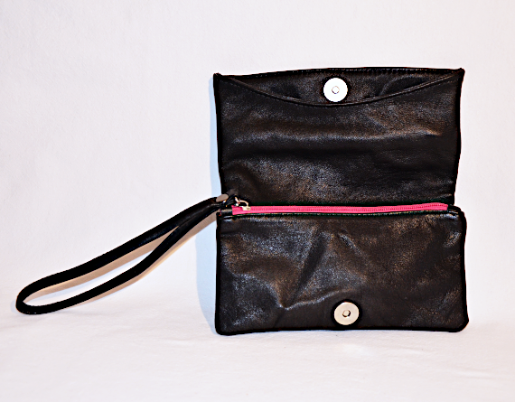 Heartcraft upcycled leather clutch C0001 open