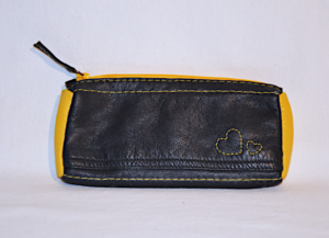Heartcraft upcycled leather glass pouch GP0001